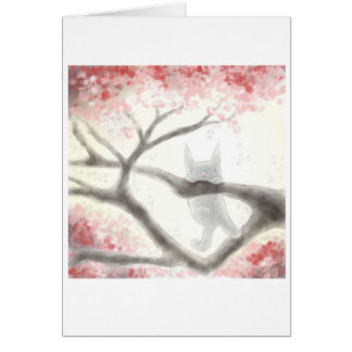 Small Grey Cat in a Tree Greeting Card