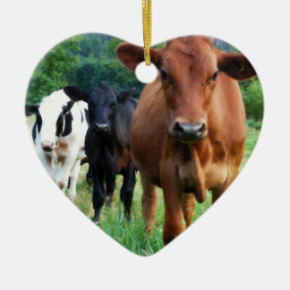 Small Herd of Three Cows Ceramic Heart Ornament