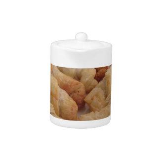 Small homemade salty croissants stuffed