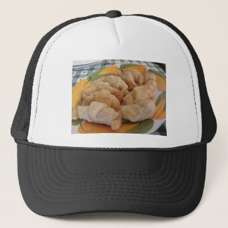 Small homemade salty croissants stuffed trucker hat