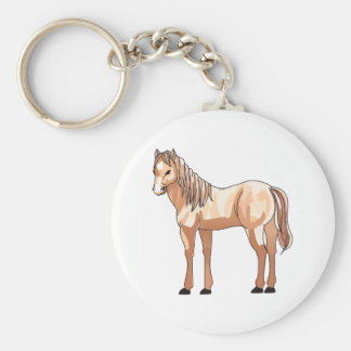 SMALL HORSE BASIC ROUND BUTTON KEYCHAIN