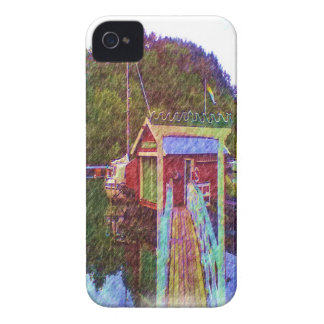 small house and sea Painting photo iPhone 4 Cover