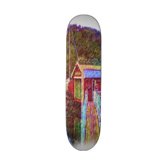 small house and sea Painting photo Skate Deck
