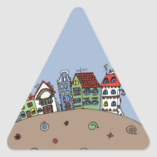 Small houses mountain triangle sticker