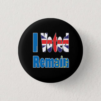 "Small ""I Voted remain"" in the EU referendum 1 Inch Round Button"