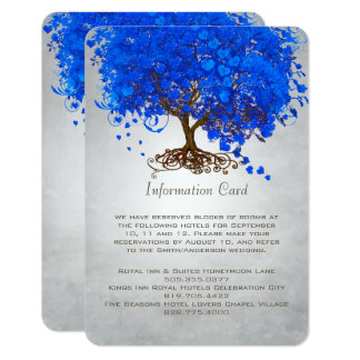 Small Insert Royal Blue Heart Leaf Tree Wedding Card