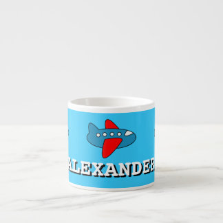 Small kids mug | personalized name and toy plane espresso mug