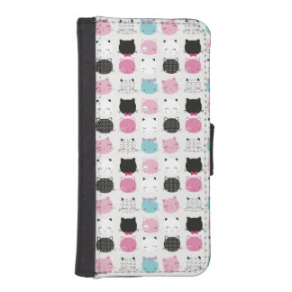 Small kitty heads pattern on grey, girly cute iPhone 5 wallets