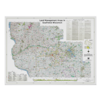 Small | Land Mgt Areas In Southwest Wisconsin Map Poster
