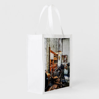 Small Lathe in Machine Shop Reusable Grocery Bag