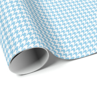 Small Light Blue and White Houndstooth Wrapping Paper