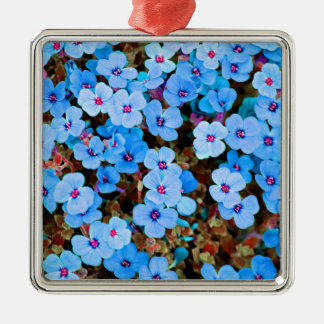 Small Lite Blue Flowers Metal Ornament