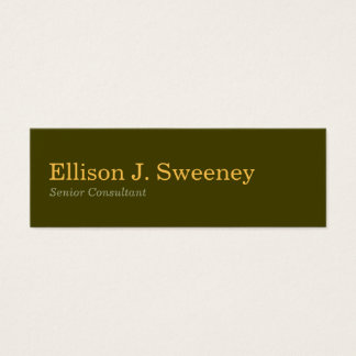 Small moss gray professional bold type design mini business card