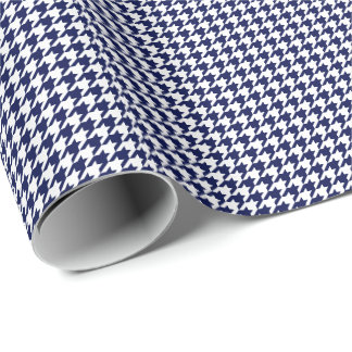Small Navy Blue and White Houndstooth Wrapping Paper