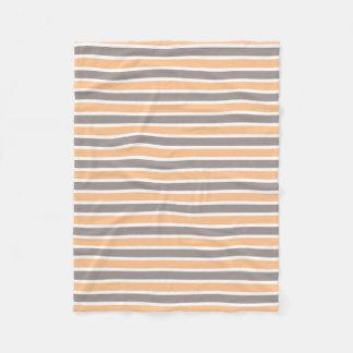 Small Orange Grey Striped Fleece Blanket