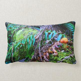 Small Orange Wild Mushroom in the Forest Lumbar Pillow