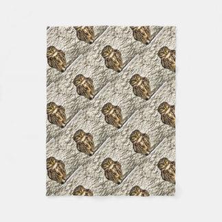 Small Owl In Camouflage Fleece Blanket