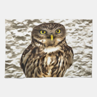 Small Owl In Camouflage Kitchen Towel