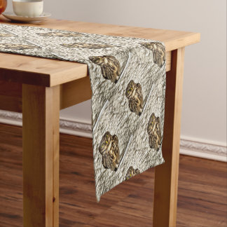 Small Owl In Camouflage Short Table Runner