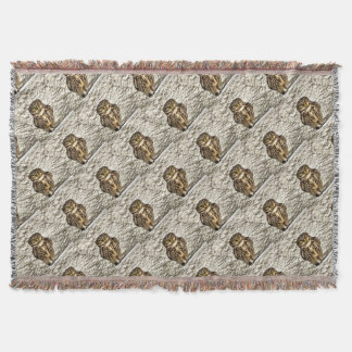 Small Owl In Camouflage Throw Blanket