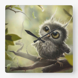 Small owl/Little Owl Square Wall Clock