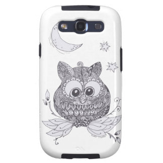 Small owl with moon galaxy s3 covers