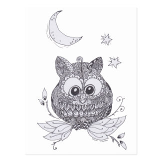 Small owl with moon postcard
