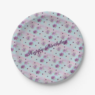 Small Paper Party Plates In Purple Blue And Pink