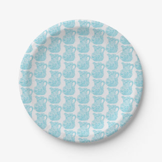Small paper plate with aqua pitcher design 7 inch paper plate