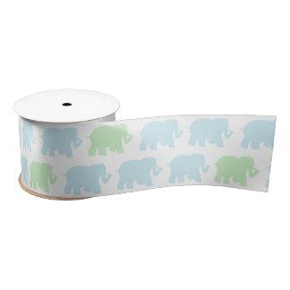 Small Pastel elephants ribbon Satin Ribbon