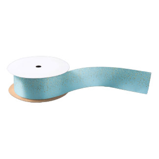 Small Petite Golden Stars Satin Ribbon-Aqua Satin Ribbon