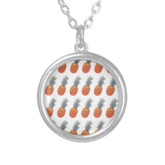 Small Pineapple Print Silver Plated Necklace