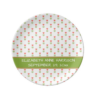 Small Pink and Green Tulips on White Baby Plate