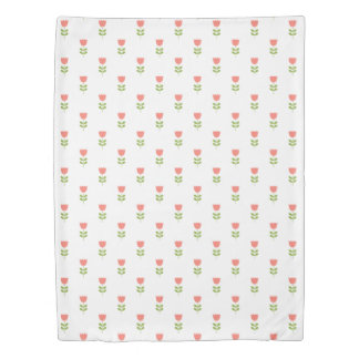 Small Pink and Green Tulips on White Duvet Cover
