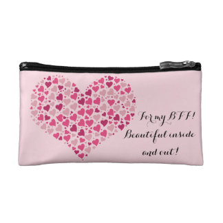 Small pink cosmetic bag, travel size for her. makeup bag