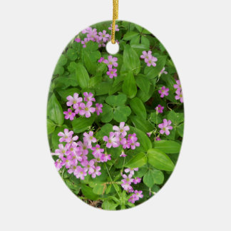 Small pink delicate wildflowers ceramic ornament