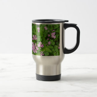 Small pink delicate wildflowers travel mug