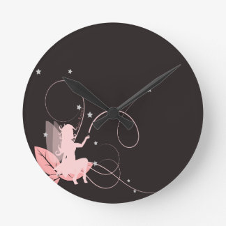 Small pink fairy and arabesques clocks