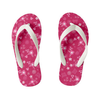 Small pink flowers kid's flip flops