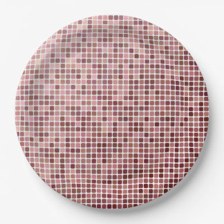 Small Pink Squares Paper Plate