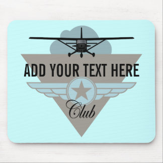 Small Plane Club Your Text Here Mouse Pad