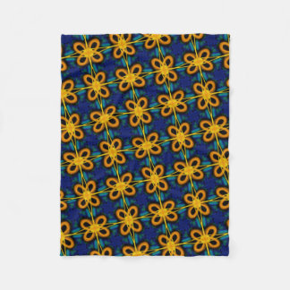 Small polar cover of blue and yellow fleece blanket