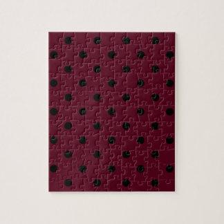 Small Polka Dots - Black on Dark Scarlet Puzzle