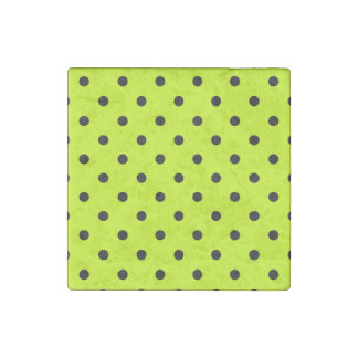 Small Polka Dots - Black on Fluorescent Yellow Stone Magnets