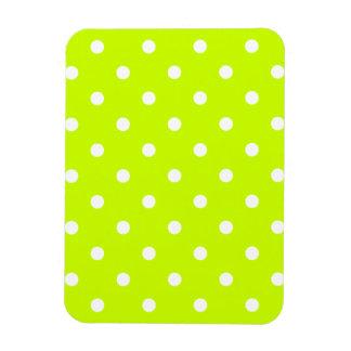 Small Polka Dots - White on Fluorescent Yellow Rectangular Photo Magnet