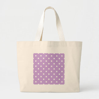 Small Polka Dots - White on Wisteria Large Tote Bag
