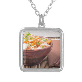 Small portion of rice vermicelli hu-teu silver plated necklace