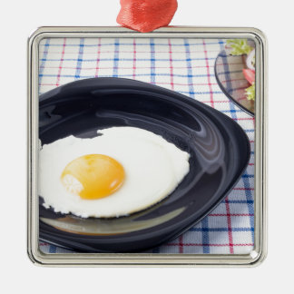 Small portion of the breakfast of fried egg Silver-Colored square ornament
