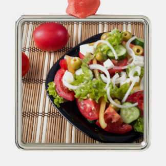 Small portion of vegetable salad of tomato Silver-Colored square ornament