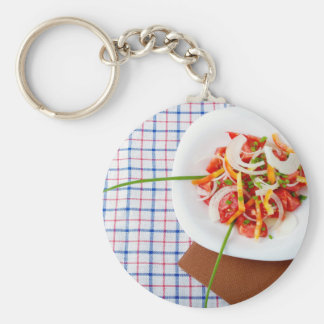 small portion of vegetarian salad basic round button keychain